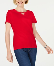 Karen Scott Petite Cotton Studded Keyhole Top, Created for Macy's