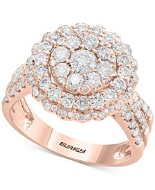 Rock Candy by EFFY® Diamond Halo Cluster Ring (1-1/3 ct. t.w.) in 14k Rose Gold