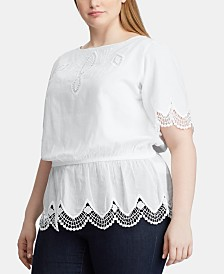 Lauren Ralph Lauren Plus Size Scalloped Pom-Pom & Embroidery-Trim Cotton Shirt
