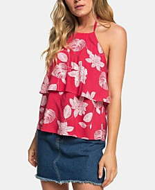 Roxy Juniors' Ruffled Floral-Print Halter Top