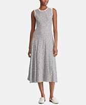 97b7b9edb52 Lauren Ralph Lauren Petite A-Line Striped Cotton Dress
