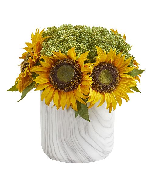 Nearly Natural Sunflower Artificial Arrangement in Marble Finished Vase