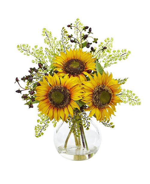 Nearly Natural Sunflower Artificial Arrangement in Vase