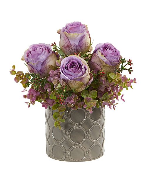 """Nearly Natural 11"""" Roses and Eucalyptus Artificial Arrangement in Designer Vase"""