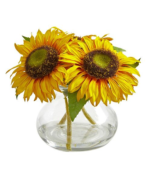 Nearly Natural Sunflower Artificial Arrangement in Glass Vase