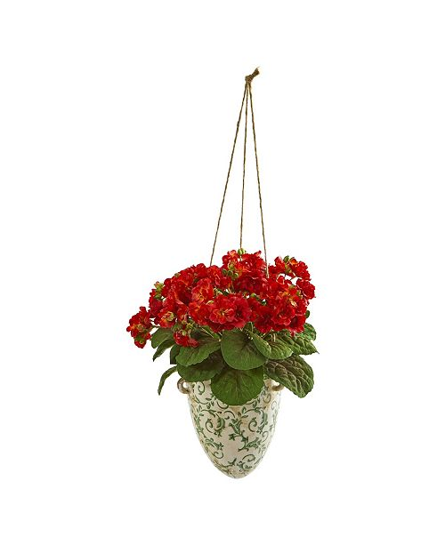 """Nearly Natural 13"""" Violet Artificial Plant in Floral Hanging Vase"""