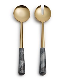 Hotel Collection Modern Marble Black & Gold Oversized 2-Pc. Server Set, Created for Macy's