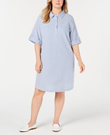 Karen Scott Plus Size Seersucker Shirtdress, Created for Macy's