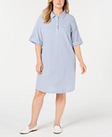 Karen Scott Plus Size Seersucker Shirtdress, Created for Macy's