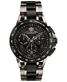 Men's Swiss Chronograph Sport Tech Black & Silver Ion-Plated Bracelet Watch 45mm