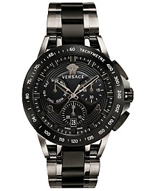 Versace Men's Swiss Chronograph Sport Tech Black & Silver Ion-Plated Bracelet Watch 45mm