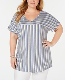 NY Collection Plus Size Striped High-Low Top