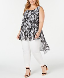 NY Collection Plus Size Sleeveless Printed High-Low Top
