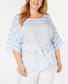 NY Collection Plus Size Striped Tie-Waist Top