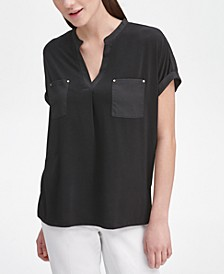 V-Neck Mixed-Texture Top