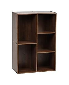 5-Compartment Wood Organizer Bookcase Storage Shelf