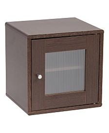 Wood Storage Cube with Window Door, Brown Oak, Kuda Series