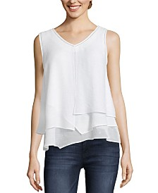 John Paul Richard Layered Sleeveless Blouse