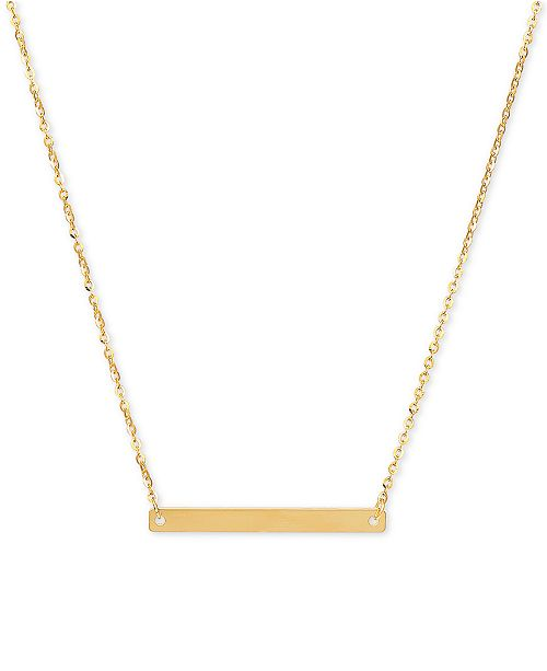 """Italian Gold Polished Bar 18"""" Pendant Necklace in 14k Gold"""