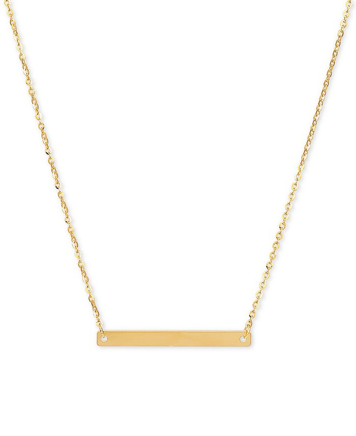 """Italian Gold - Polished Bar 18"""" Pendant Necklace in 14k Gold"""