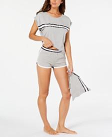 Calvin Klein Millennial Varsity Logo Stripe Top & Shorts Pajama Set With Matching Drawstring Bag