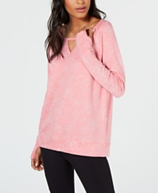 Ideology Printed Burnout Cutout Long-Sleeve Top, Created for Macy's