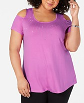 2c38dc7d947 JM Collection Plus Size Embellished Cold-Shoulder Top