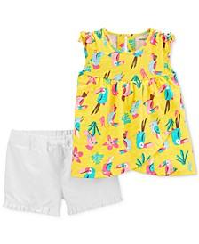 Baby Girls 2-Pc. Cotton Toucan-Print Top & Shorts Set