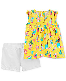 Carter's Baby Girls 2-Pc. Cotton Toucan-Print Top & Shorts Set