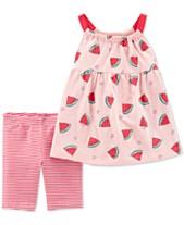 300e22116 Carter's Baby Girls 2-Pc. Watermelon-Print Top & Striped Shorts Set