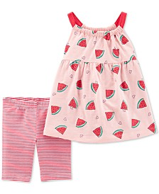 Carter's Baby Girls 2-Pc. Watermelon-Print Top & Striped Shorts Set