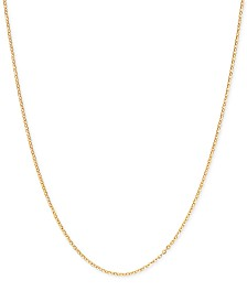 "Italian Gold Mirror Cable Link 20"" Chain Necklace in 14k Gold"
