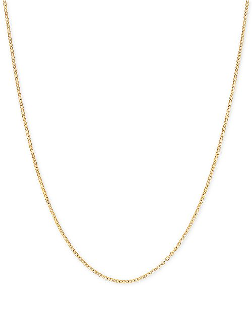 """Italian Gold Mirror Cable Link 20"""" Chain Necklace in 14k Gold"""