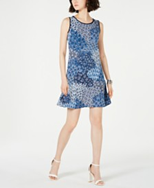 MSK Petite Sleeveless Piped Shift Dress