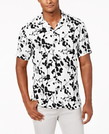 I.N.C. Men's Twig Leaf Camp Collar Shirt, Created for Macy's