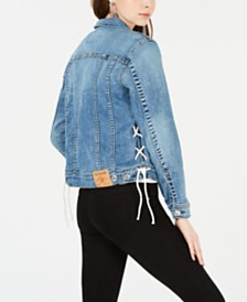 True Religion Lace-Up Denim Jacket