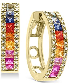 EFFY® Multi-Sapphire (2-3/8 ct. t.w.) & Diamond (1/4 ct. t.w.) Hoop Earrings in 14k Gold