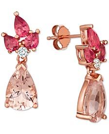 Multi-Gemstone (4-3/8 ct. t.w.) & Diamond (1/10 ct. t.w.) Drop Earrings in 14k Rose Gold