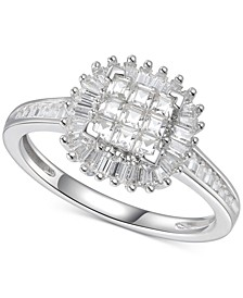 Cubic Zirconia Square Cluster Baguette Halo Ring n Sterling Silver
