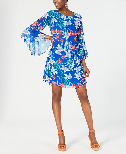 INC International Concepts I.N.C. Floral Chiffon Bell-Sleeve Dress, Created for Macy's