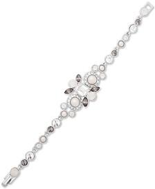 Givenchy Silver-Tone Crystal & Imitation Pearl Flex Bracelet