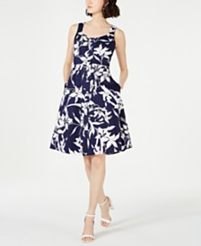 Taylor Button-Front Fit & Flare Dress