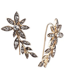 Gold-Tone Crystal Flower Ear Climber Earrings