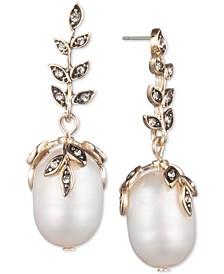 Gold-Tone Pavé & Genuine Pearl (9-13mm) Drop Earrings