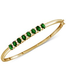 Emerald (3-1/8 ct. t.w.) & Diamond (1/8 ct. t.w.) Bangle Bracelet in 14K Gold over Sterling Silver (Also Available in Ruby, Sapphire, and Tanzanite)