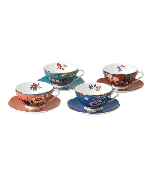 Wedgwood Paeonia Blush Set/4 Teacup & Saucer
