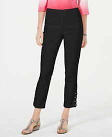 JM Collection Petite Criss-Cross Studded Ankle Pants, Created for Macy's