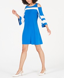 Alfani Colorblocked Cold-Shoulder A-Line Dress, Created for Macy's