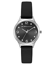 Ladies Black Synthetic Leather Strap Watch with Silver Case