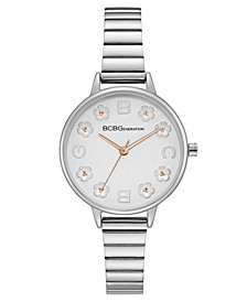 Ladies Silver Bracelet Watch with Floral Dial Accents